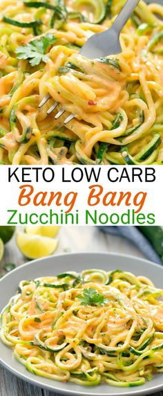 Zucchini noodles are served in a . Zucchini-Nudeln werden in einer Low-Carb-Version… Keto Bang Bang zucchini pasta. Zucchini noodles are served in a low carb version … – - Healthy Dinner Recipes, Diet Recipes, Cooking Recipes, Easy Recipes, Keto Veggie Recipes, Zoodle Recipes, Recipies, Vegetarian Low Carb Meals, Low Car Recipes