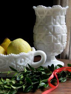 Vintage Milk Glass Westmoreland Quilted Pedestal Flower Vase Vintage Wedding Decor From Country Home City Home.