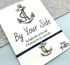 Friendship Bracelet: Anchor Charm Bracelet, Best Friend Quote Greeting Gift, BFF Bracelet, Adjustable Cord Bracelet, His