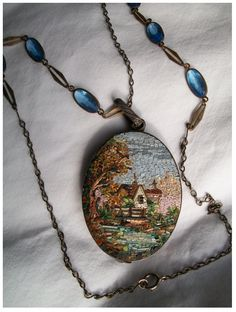 Micromosaic House & Landscape Locket...