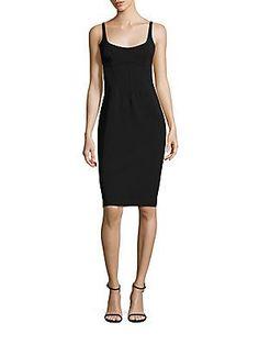 ABS Scoopneck Bodycon Dress - Black - Size M
