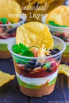 Cutest 7 layer dip on this side of Robinhood Village!! Served this at our ANNUAL SIPS & CHIPS PARTY!! Made a slightly smaller version for single served indulgence along with lots of other choices!! Yum!! Note to future attempters... Pipe the first three layers... Keeps them clean and pretty!!