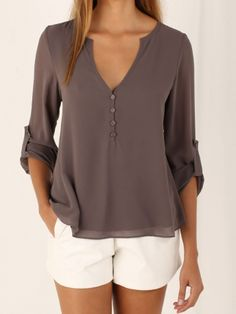 Gray V-neck Button Detail Dip Back Blouse with white shorts
