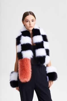 Color: Fox White / Fox Black Tail: in 40 colors available Fabric: Modacrylic, Polyacrylic, Polyester Innerlining: Viscose, Polyester White Fox, Chess, Faux Fur, Fur Coat, Peach, Street Style, Fabric, Jackets, Color