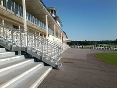 Steps of Lingfield Park grandstand.