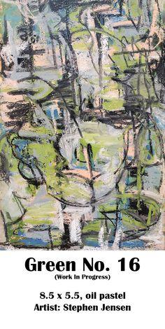Still working on this. (work in progress) 8.5 x 5.5, oil pastel Artist: Stephen Jensen #stephenjensen #abstractart #oilpastelart #neopastel #art Oil Pastel Art, City Photo, Abstract Art, Artist, Green, Artists