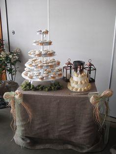 Burlap DIY Cake Table decor
