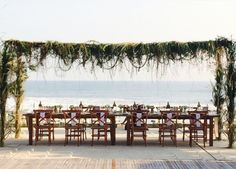Lush Green Canopy over Natural Wood Tables | Bali Event Hire (Bali Indonesia) | Furniture Hire | Wedding Decor | The LANE