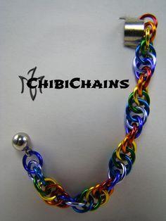 Cuff Earring - Spiral by Chibichains #Chibichains #Chainmail #Chainmaille #Earring #CuffEarring #Spiral #Rainbow