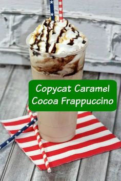 Copycat Starbucks Caramel Cocoa Frappuccino Recipe - why go to Starbucks to buy a Frap when you can make this delicious drink from home on a budget?!
