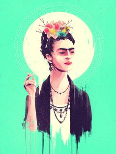 """Portrait of modern famous painter - Frida Kahlo. Exhibited at Gauntlet Gallery in SF for the """"Thank God it's Frida"""" show. Art And Illustration, Frida E Diego, Frida Art, Diego Rivera, Jace, Frida Kahlo Portraits, Pop Art Decor, Kahlo Paintings, Street Art"""