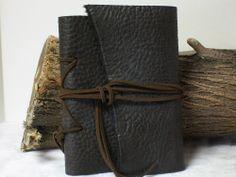 Natural Edge Dark Brown Buffalo Leather Pocket Journal Handmade Diary Travel 6X4