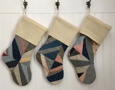 Country Christmas Stocking Vintage Patchwork Quilt with Cream Cuff Farmhouse