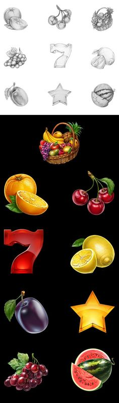 Development of fruit icons for the game slot-machine.Here you can see a process to create of sketches and also final versions all of our delicious icons.Enjoy!http://slotopaint.com/: