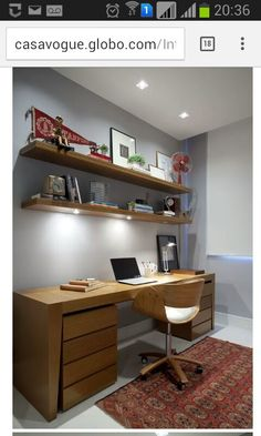 60 Favorite DIY Office Desk Design Ideas and Decor If you've ever had the opportunity to work from home, you know how influential your home office furniture can be with regard to your productivity. The desk, in particular, plays a critical role in any … Diy Office Desk, Home Office Space, Home Office Furniture, Bed Furniture, Home Office Decor, App Office, Furniture Dolly, Small Office, Bureau Design