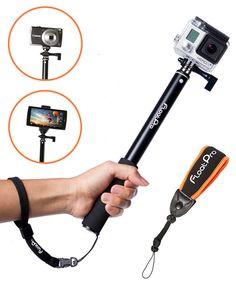 3-in-1 GoPro Waterpoof Monopod. Floating & Extendable Selfie Stick Bundle