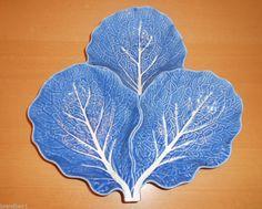 Bordallo Pinheiro Majolica Portugal Cabbage Leaf 3 Section Dish Blue
