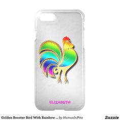 Golden Rooster Bird With Rainbow Feathers And Tail iPhone 7 Case