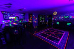 Full view of Georgia's party space.  Glow in the Dark Partyscape from a Glow Dance Birthday Party on Kara's Party Ideas   KarasPartyIdeas.com (51)