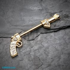 Golden Bling Pistol Gun Nipple Barbell Ring