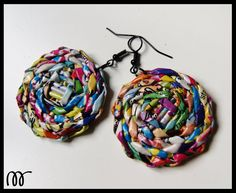 earrings handmade from newspaper Upcycled colorful by makkireQu