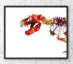 Art Print Watercolor Dinosaurs Watercolor Colorful