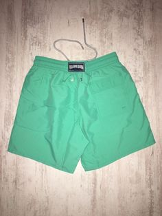New Men Vilebrequin Swimwear Shorts No Pattern Solid Royal Green Size L