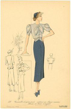 """""""Ensemble d'après-midi : costume en cloqué marine, blouse en lamé d'argent,"""" fashion plate, published 1937."""