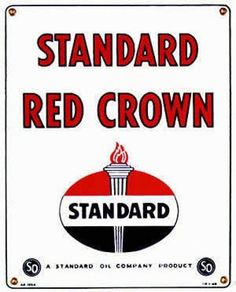 STANDARD OIL RED CROWN GAS PUMP ADV SIGN S #Sign