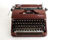 Red Maroon Typewriter Olympia SM3 on Etsy, $248.00