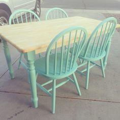 Kitchen table re-do #diy #mint #shabbychic