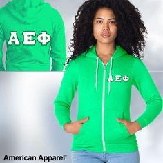 Alpha Epsilon Phi Sorority American Apparel Zip Hoody $44.99 #Greek #Sorority  #Clothing #AEPhi #AlphaEpsilonPhi