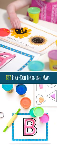 DIY Play-Doh Learning Mats. Create a mat with pre-created outlines and have kids use Play-Doh to replicate outlines!