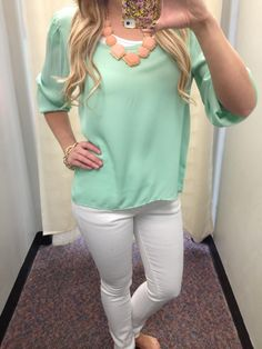 Kinda obsessed with mint, white and peach. Especially this kind of outfit.