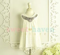 not a fan of the jeweled embellishment, but like this style   Lace Dress  The Waverly Dress Girls Dress  by SweetHavenCouture