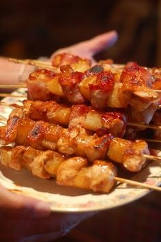 Teriyaki chicken/bacon/pineapple skewers -- can be grilled or baked!.