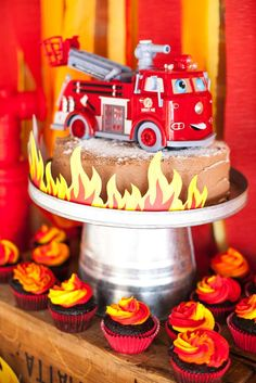 Fantastic firetruck birthday party cake! See more party ideas at CatchMyParty.com!