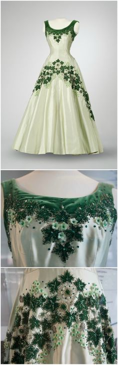 """""""Maple Leaf of Canada"""" dress, designed by Norman Hartnell, London, 1957. Worn by Queen Elizabeth II at a state banquet at Rideau Hall, Ottawa, in 1957. Photos (Top): Musée de l'histoire 