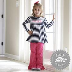 Girls Navy Stripe Fuschia Cotton Pant Set – Lolly Wolly Doodle