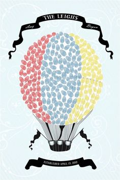 Personalized Wedding Guest Book Thumbprint Poster - Hot Air Balloon