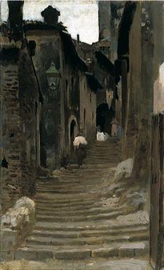 VINCENZO CABIANCA, Strada a Palestrina, olio su tavola, cm 30x18,6, Firenze, Galleria d'arte moderna di Palazzo Pitti, Catalogo Generale n. 248
