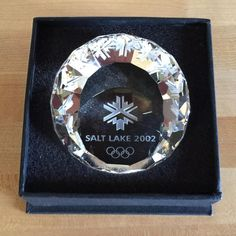 Salt Lake 2002 Winter Olympics Crystal Paperweight Olympic Games Souvenir
