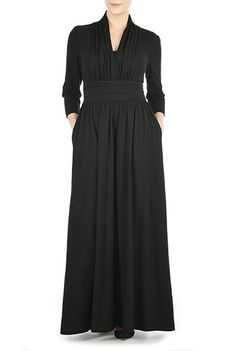 I <3 this Pleated cotton knit maxi dress from eShakti