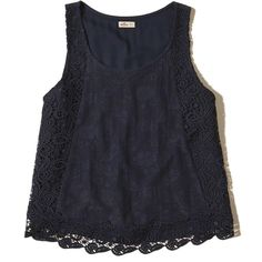 Hollister Lace-Trim Tank ($17) ❤ liked on Polyvore featuring tops, navy lace, navy blue top, navy blue lace top, scoop neck tank, navy lace top and scalloped tank top