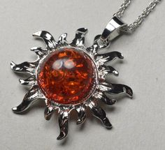 Beautiful Pressed Amber Sun Necklace Pendant 42 by dukatshopping Amber Necklace, Amber Jewelry, Pendant Necklace, Cancer Sign, Months In A Year, Birthstones, How Are You Feeling, Brooch, Sun