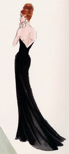 Fashion Illustration, elegant, watercolour, lbd little black dress, black dress