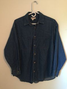 Womens ESPRIT Blue Jean Denim Shirt M Medium Cotton Long Sleeve Button Down EUC #Esprit #ButtonDownShirt