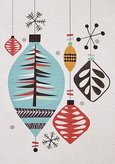 Mid century atomic style retro Christmas ornaments
