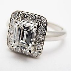 Halo Style Emerald Cut VS Diamond Engagement Ring Solid White Gold by EraGem Emerald Cut Diamond Engagement Ring, Emerald Cut Rings, Emerald Cut Diamonds, Diamond Wedding Rings, Diamond Rings, Diamond Life, Diamond Jewelry, Best Engagement Rings, Antique Engagement Rings