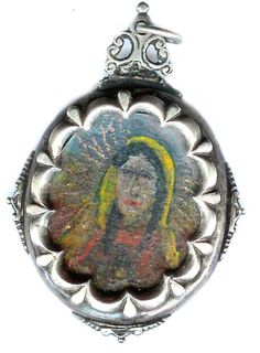 Silver cased ;painting, two sided canvas, Mexican 18th c   Private collection Linda Pastorino